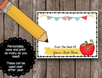 Personalized Teacher Note Cards - Teacher Appreciation - Custom Notes