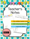 Personalized Teacher Notes | FREEBIE!