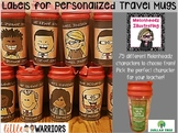Personalized Travel Mugs Dollar Tree Teacher Gift Editable Labels {Melonheadz}