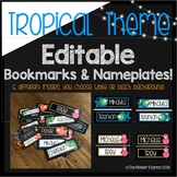 Editable Tropical Themed Labels including FLAMINGOS! Bookmarks, Nameplates