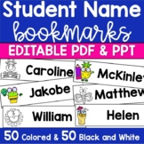 Book Marks ~ Personalize with students' names