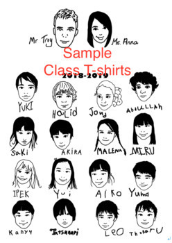 Personalized custom made portrait clipart from your photo (1 class, Max 15 ppl)