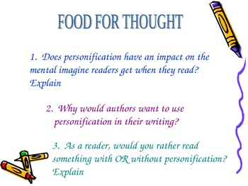 Personification PowerPoint- definition, 2 examples, small group practice