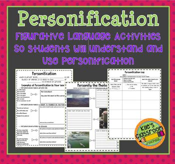 Personification Figurative Language Notebook Pages and  Writing Activites