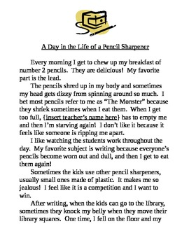 personification a day in the life sample story nd rd th grade