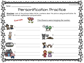 Personification Anchor Chart, Interactive Notebook Pages, and Writing Activity