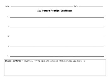 Personification Brainstorming Template