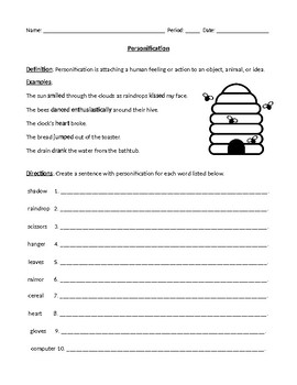 Personification: Definition, Examples, and Worksheet