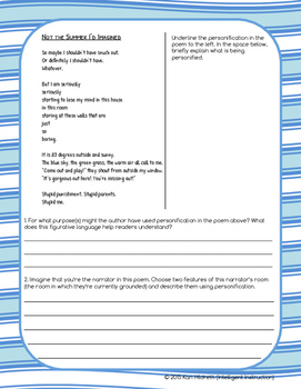 Personification: Guided Notes, Practice Questions, and Poetry Activity