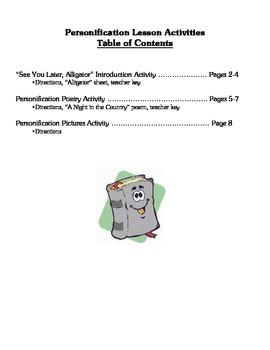 Personification Lesson Activities - Figurative Language