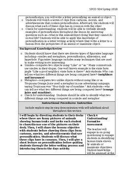 Personification--Observation Lesson Plan with Accommodations