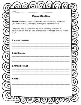 Personification Poem & Worksheet