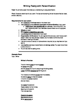 Personification Poem Writing Assignment w/ Grading Rubric