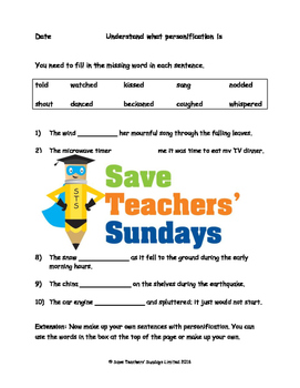 Personification PowerPoint, Worksheet and Help sheet