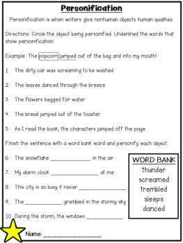 Personification PowerPoint and Printables