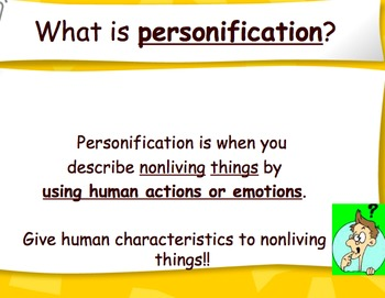 Personification Powerpoint and Worksheet