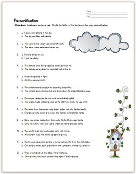 Personification Practice Page by All-Star ELA | Teachers Pay Teachers