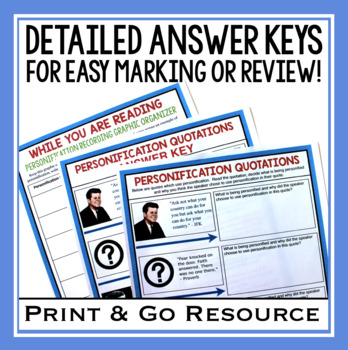 PERSONIFICATION ACTIVITIES, ASSIGNMENTS, TASK CARDS, & MORE!