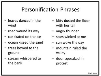 Personification Figurative Language  Writing Worksheets using Boab Trees
