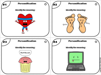 Personification Task Cards 4th 5th 6th 7th 8th Grade Figurative Language