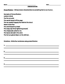 PERSONIFICATION WORKSHEET by Liz Smart | Teachers Pay Teachers