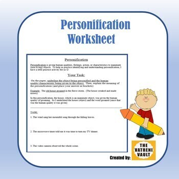 Personification Worksheet (with ANSWER KEY)