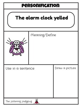 Personification Worksheets: Figurative language