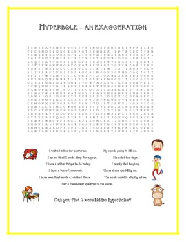 FIGURATIVE LANGUAGE Personification Hyperbole Fun ACTIVITY WORKSHEETS