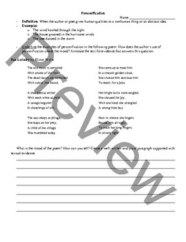 Personification and Mood Poetry Analysis and Activity