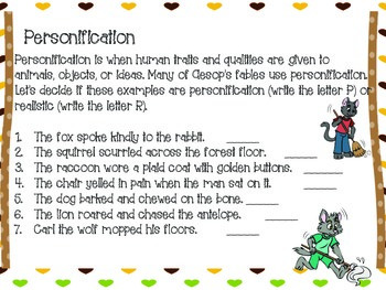 personification in fables mini lesson by differentiated fun tpt