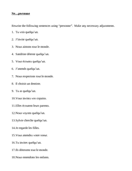 Négation in French with Personne worksheet