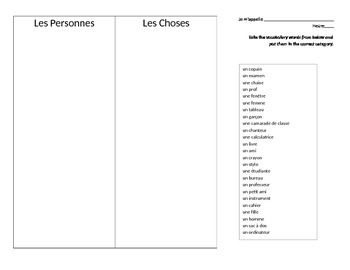 Personnes vs Choses sorting activity
