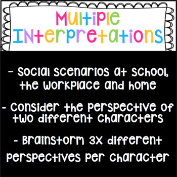 Perspective Taking Scenarios SET 2! Social Skills for Middle & High School