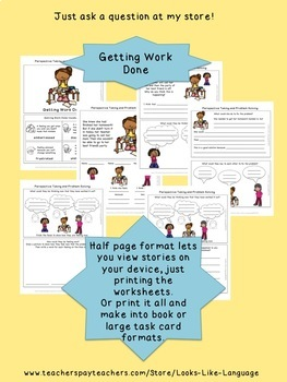 Problem Solving Social Skills and Perspectives Activities Freebie for Elementary