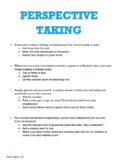 Perspective Taking worksheet