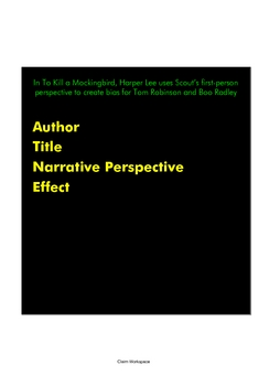 """Perspective/""""Point-of-View"""" Writing: A Smart Notebook Presentation"""