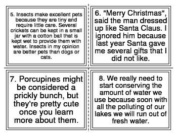 Persuade Inform Entertain Task Cards (20 short passages)