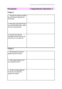 Persuasion Comprehension Questions & Answers