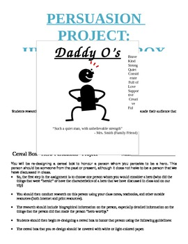 Persuasion Project  Hero Cereal Box