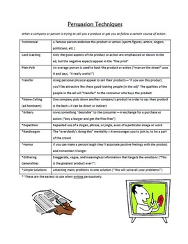 Persuasion Techniques Notes/Poster