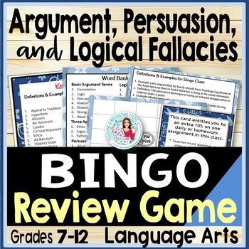 Persuasion Vocabulary & Logical Fallacies ELA BINGO - Clues and Definition Cards