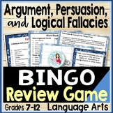Persuasion Vocabulary & Logical Fallacies ELA BINGO - Clues and Definition Cards