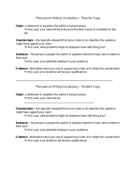 Persuasion in the Real World! Apply for a Job!