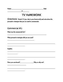 Persuasion: watching TV homework assignment