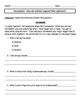 Persuasion/Supporting Opinions Assessment
