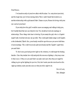 Persuasive Advice Letter to Romeo or Juliet