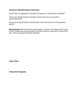 Persuasive Argument Essay Outline