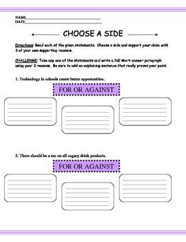 Persuasive OPINION Argument Claims and Reasons Worksheet