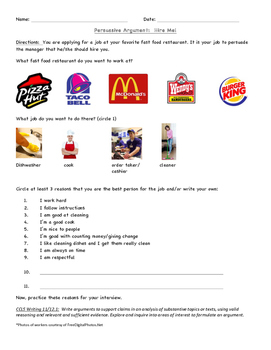 Persuasive Argument:  Hire Me! (Fast Food)