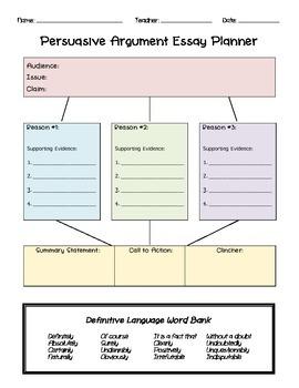 Persuasive Argument Writing Graphic Organizer